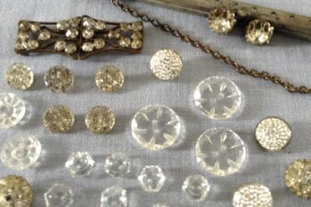 Diamante, glass and lucite buttons